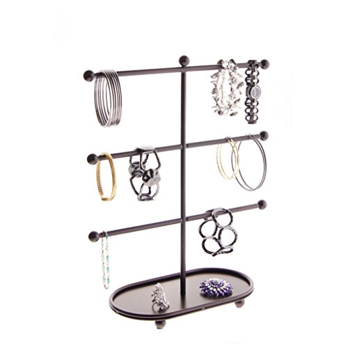 Bracelet Holders for Jewelry Display Tree Stand 3 Tier T Bar Jewelry Organizer Storage Rack, Amy Rubbed Bronze - Oval T-bar