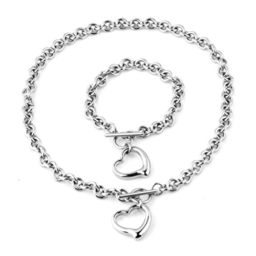 - KangCM Jewelry Market Women Heart Necklace Bracelet Set Charm Stainless Steel Round Rolo Chain Toggle Bangle Necklace (6inch16inch)