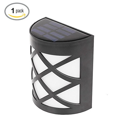 1916Life Outdoor Solar Powered LED Deck Lights for Garden Patio Deck Fence Lights,Solar Wall Lights,Dusk to Dawn Sensor,Waterproof Security Lighting,Color Cool White(Pack of 1)