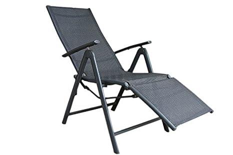 Alu Aluminium Relaxliege Anthrazit Schwarz Gartenstuhl Stuhl