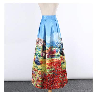 f48b5b14de Carol Chambers New Satin Women 100cm High Waist Flared Maxi Skirts Peach  Blossom Printed Pleated,7,One Size: Amazon.ca: Clothing & Accessories