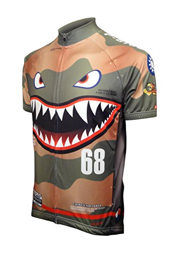 FIGURE ARMOR Squadron -Flying Tigers AVG P-40 Men's Cycling Jersey Short-Sleeve Polyester Quick Dry Off-White