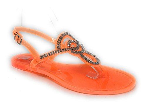 Pink Crush Women's Slingback Strap Rhinestone Embellished Thong Jelly Flat Sandals in Orange Size: ()