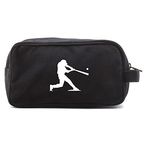 Grab A Smile Baseball Player Canvas Shower Kit Travel Toiletry Bag Case in, Black and White
