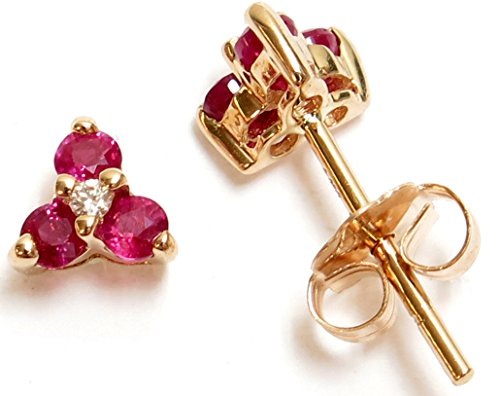 14K Yellow Gold Genuine Ruby(0.27ct) and Diamond Stud ()