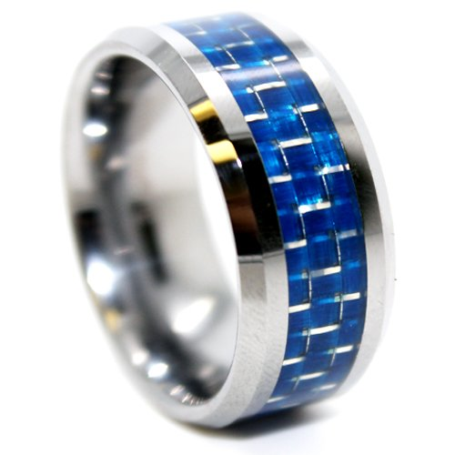 10mm Tungsten Blue Carbon Fiber Mens Wedding Band (Sizes Available 7-17)