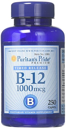 Puritans Pride Vitamin B-12 1000 Mcg Timed Release Caplets, 250 Count 1000 Mcg Time Release Tablets