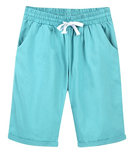 - Chartou Women's Casual Elastic Waist Knee-Length Curling Bermuda Shorts (Small, Blue)