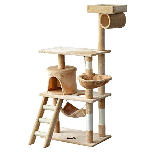 PawHut 55″ Plush Sturdy Interactive Cat Condo Tower Scratching Post Activity Tree House – Beige Review