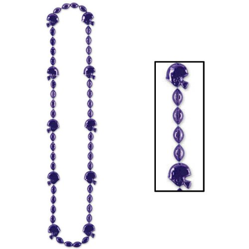 (Football Beads (purple) Party Accessory  (1 count) (1/Card))