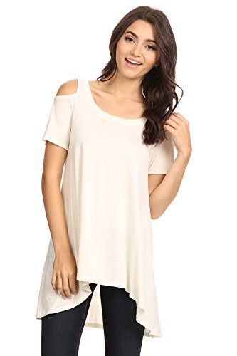 Alexander + David Womens Cold Shoulder Shirt Top, Casual Sexy Hi-Low Tunic Top