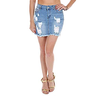 Wax Women's Juniors Casual Distressed A-Line Denim Short Skirt at Women's Clothing store