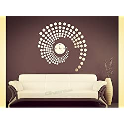 Apexshell(TM) DIY Decorative Creative Fashion Round Point Wall Clock Crystal Mirror Wall Silent Clock Fashion Modern Design Removable DIY Acrylic Mirror Wall Decal Wall Sticker Decoration for Home Living Room Kitchen Bedroom Baby or Child Room
