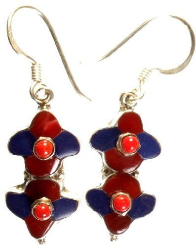 c298392f6 Amazon.com: Inlay Nepalese Earrings with Coral - Sterling Silver ...