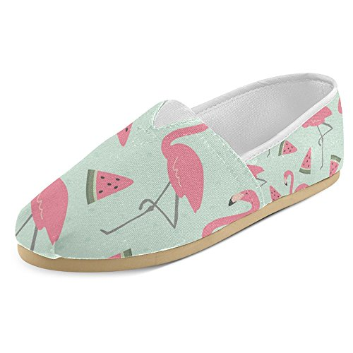 Rentprint Dames Loafers Classic Casual Canvas Slip Op Fashion Schoenen Sneakers Mary Jane Flats Flamingo