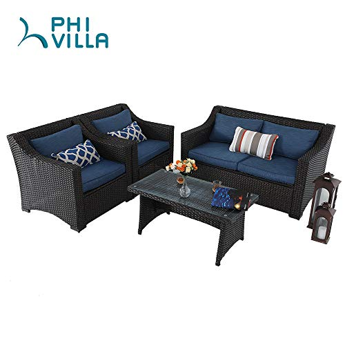 PHI VILLA 4-Piece Conversation Sofa Set Outdoor Patio Furniture Sets Wicker Rattan Sectional Sofa Set with Denim Blue Olefin Fiber Cushions & Glass Coffee Table, Loveseat + 2 Lounge Chairs, Brown