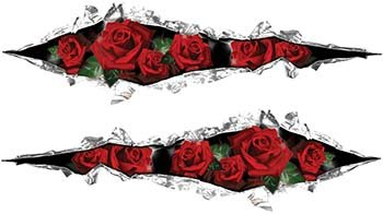 Ripped Tornメタルグラフィックデカールwith Red Roses   B00NCBH2XC