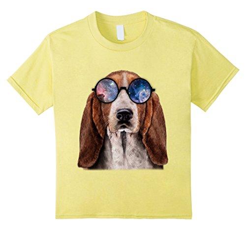 Kids T-Shirt, Retro Basset Hound Wearing Galaxy Sun Glass, Dog 8 Lemon