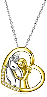 YFN Sterling Silver Lovely Animal Heart Moon Pendant Necklace Jewelry Gift for Women Girls 18&