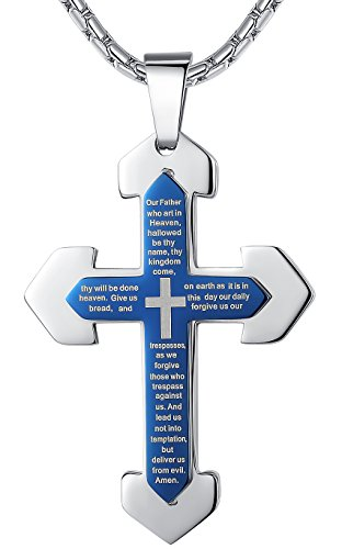 mens-stainless-steel-lords-prayer-cross-pendant-necklace-blue-color-23-chain-ddp004la