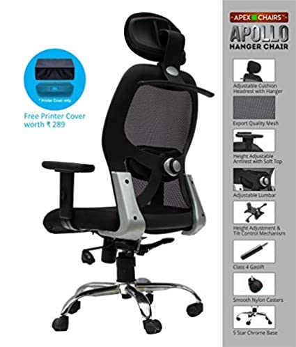 APEX Chairs Apollo Nylon HIGH Back Office Chair Adjustable ARMS and Hanger(Festive Offer)