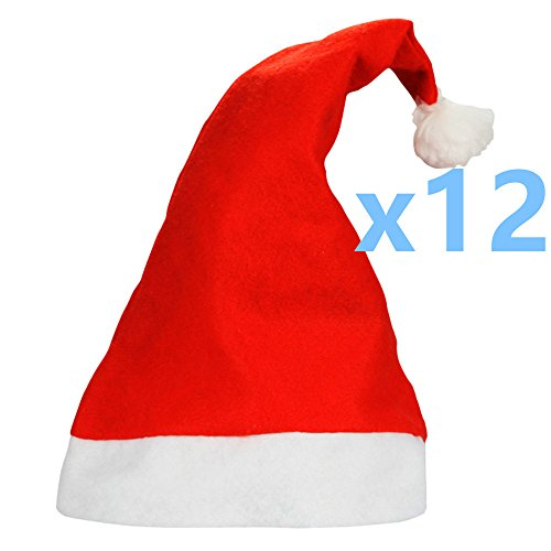 Yansanido Pack of 12 Traditional Red and White Plush Christmas Santa Hat for Children High School Boys and Girls