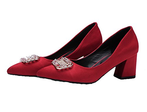 Solid AmoonyFashion Toe Shoes Frosted Red Women's Pumps 43 Pointed Kitten Heels Pull On Z6rZxSFnw