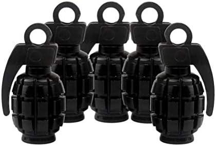 VOSAREA 5本のアルミ合金手榴弾形の自動車の自転車のタイヤバルブのダストキャップカバー(ブラック)