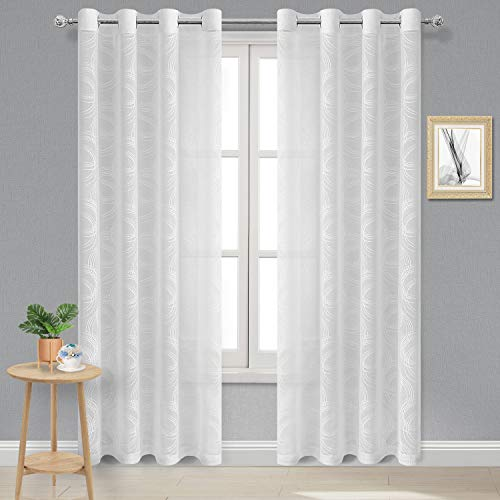 DWCN White Sheer Curtains - Faux Linen Circle Pattern Geometric Burnout Semi Sheer Voile Bedroom and Living Room Curtains, 52 W x 84 L inches Long, Set of 2 Grommet Curtain Panels