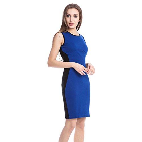 Adolpha Damen Kleid dünner Rundhals Polyester Frühling Sommer (blau, weiß, rot) , blue , l