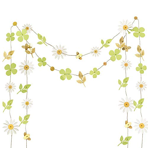 Ling's moment 13FT Paper Lucky Clover Daisy Leaves Bee Banner, Set of 2, Handmade Banner, Hanging Flower Backdrop Garland for Baby Nursery Bridal Shower Birthday Party Backdrop Wedding Dorm Room (Flower Banner)