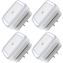 LED Night Light Lamp with Smart Auto ON/OFF Sensor Set of 4, DLAND 0.5W Plug-in LED Wall Night Light Lamp for Bedroom, Bathroom, Hallway, Stairways, or Any Dark Room Soft Brightness.( White )