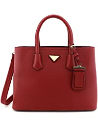 Faux Saffiano Leather Tote Bag with Gold Triangle Plate