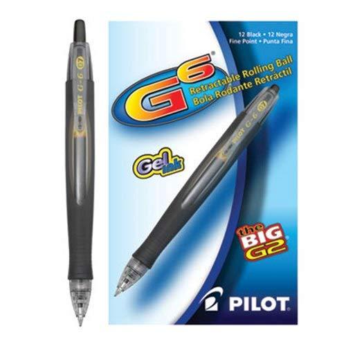 Point Barrel Fine Black - Pilot G-6 Retractable Gel Ink Rollerball Pens, 0.7 mm, Fine Point, Black Barrel, Black Ink, Pack Of 12