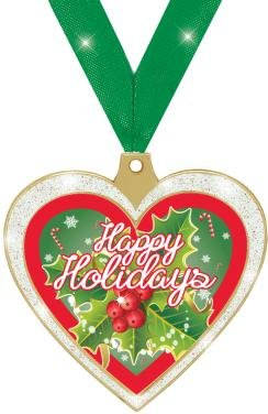 HOLIDAY AWARDS - 2.5'' Glitter Heart Happy Holiday Medal 50 Pack