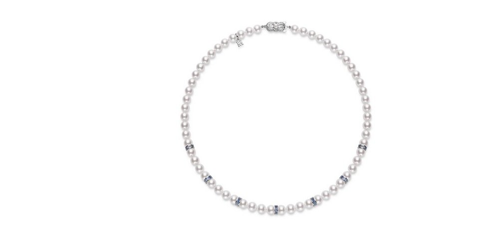 Mikimoto Ocean Akoya Cultured Pearl Necklace 7.5x7mm Akoya cultured pearls with graduated in color Blue Sapphire rondelles (3.85ct). 18 inches long