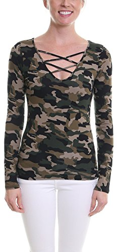 Pier 17 Camouflage Long Sleeve Shirt by Casual Long Sleeve Top For Women - V Neck - Made From Cotton/Rayon - True To​ ​Fit​ Stretchy Fabric - Lightweight and Soft (Large, Green)