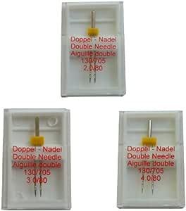 Aguja doble (3 unidades de 2,0/80, 3,0/80 y 4,0/80): Amazon.es: Hogar
