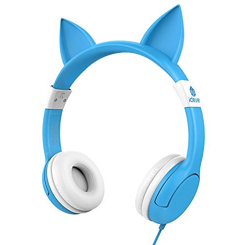 Crown Headset Microphone - iClever BoostCare Wired Kids Headphones Cat-inspired Over the Ear Headsets with 85 Volume Limited, Food Grade Silicon Material(HS07), Blue