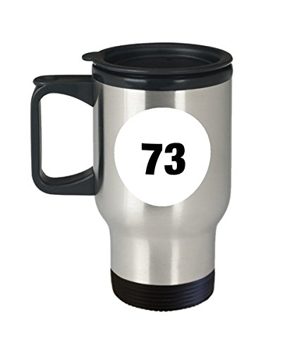 Number 73 Big Bang Travel Mug from Sheldon's Warm Beverage Cup Collection - 14oz Stainless Steel Tumbler with Handle - Theory Fan Gift