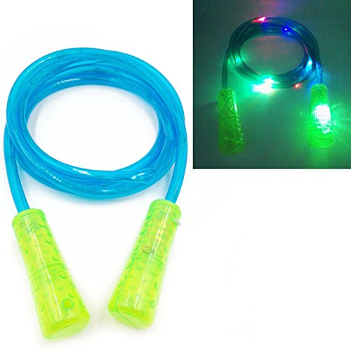 SN-RIGGOR Colorfull LED Light Up Jump Rope LED Light Rope Skipping Glow in Dark Jump Rope -