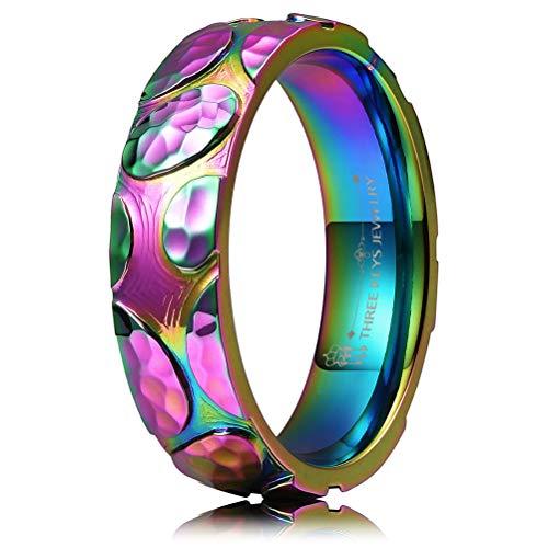 (THREE KEYS JEWELRY 6mm Rainbow Stone Colorful Titanium Wedding Ring Domed Polished Wedding Band Engagement Ring Size)