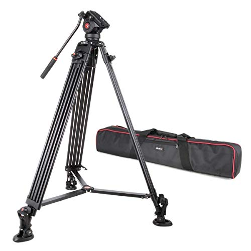 Calumet Tripod Professional Heavy Duty Video Camcorder and DV DSLR Tripod with Fluid Drag Head and Quick Release Plate and a Carry Case (Dv Hd Transport)