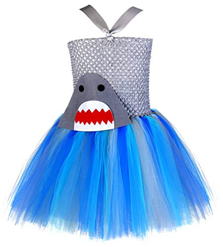 Tutu Dreams Teen Shark Costume Girls Shark Role Play Funny One Piece Dresses Gray Blue (Shark, -