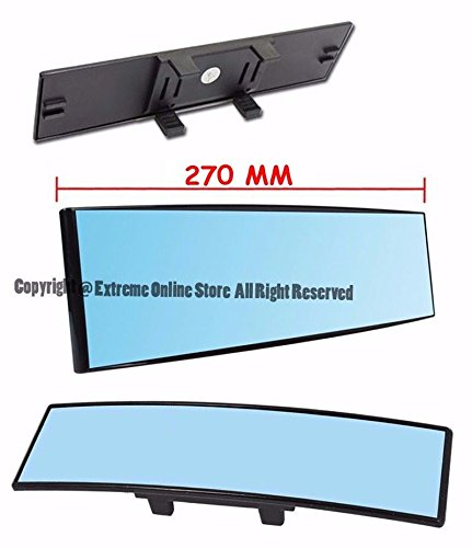 Extreme Online Store Universal 270MM 10.6' Wide Angle Convex Curve BLUE TINTED Interior JDM CLIP ON Anti Glare Rear View Mirror Panoramic SUV Truck Car