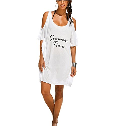 Dress Ups For Kids (Westore Bikini Cover Ups T Shirt Hawaiian Beach Dress Baggy Swimsuit Body Cover Ups for Women, Girls and Ladies - Letter Printed, White & Black Bikini Wrap Cover Up Loose (Summer Time-white))