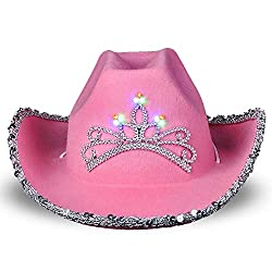 Girls Sparkly Light-Up Pink Cowboy Hat