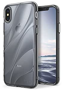Apple iPhone X Case Ringke [Flow] Minimalist Wavy Textured Shock Absorption TPU Form Fitting Lightweight Drop Resistant Protection Design Cover for iPhone X - Smoke Black