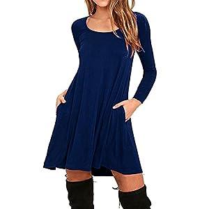 JINGJQINGCAO Chic Womens Cotton Loose Casual Pockets Pleated Swing Long Sleeve T-shirt Dress Navy Blue3X