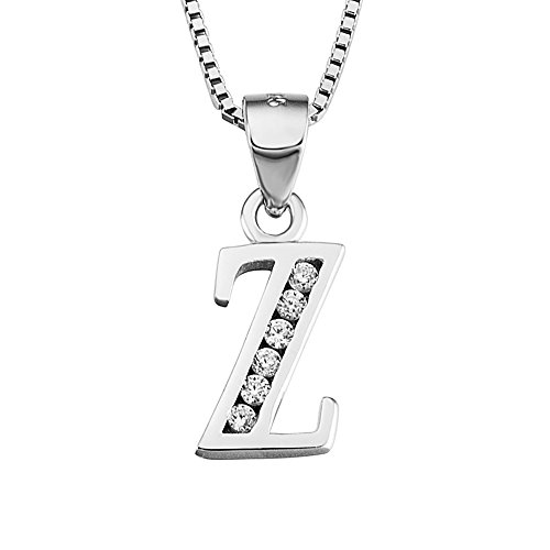 YFN Initial Z Pendant Necklace in Sterling Silver with Cubic Zirconial 26 Letter Alphabet Jewelry for Women Teen Girl
